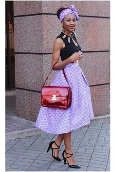 Discover this look wearing Light Purple Skirts, Brick Red Bags, Black Asos Heels, Black Cut Out Asos Tops - Ankara Full Midi Skirt by modavracha styled for Eclectic, Anniversary in the Summer African Wear, African Attire, African Style, African Outfits, African Clothes, African Inspired Fashion, African Fashion, African Print Skirt, African Prints