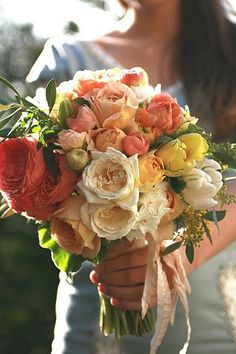 Wedding bouquet. Repin by Inweddingdress.com #bouquets Peonies, roses, tulips and Lily's in a similar colour theme @ncrinnion xx