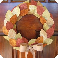 glitter leaf wreath