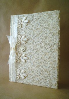Shabby Chic Lace Journal Diary Notebook Guestbook by ShabbySoul