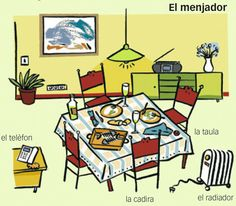"""#Fitxa #Imprimible del #vocabulari de la #casa """"El menjador"""" en #català #flashcards #EduacióPrimaria"""
