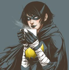Been drinking a lot of tea lately while re-reading Cass books. Basically drinking tea while reading on Cass drinking tea. Love this girl, btw. Cassandra Cain, Dc Comics Heroes, Marvel Dc Comics, Batwoman, Batgirl, Batman Universe, Dc Universe, Black Bat, Wolf Girl