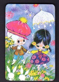 Vintage-Swap-Card-Cute-Girl-Boy-with-Flowers-BLANK-BACK