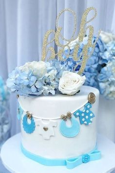 Dont miss this fabulous boy baby shower at CatchMyParty.com!! Love the cake! #catchmyparty #partyideas #boybabyshower #babyshower #partydecorations #babyshowercake