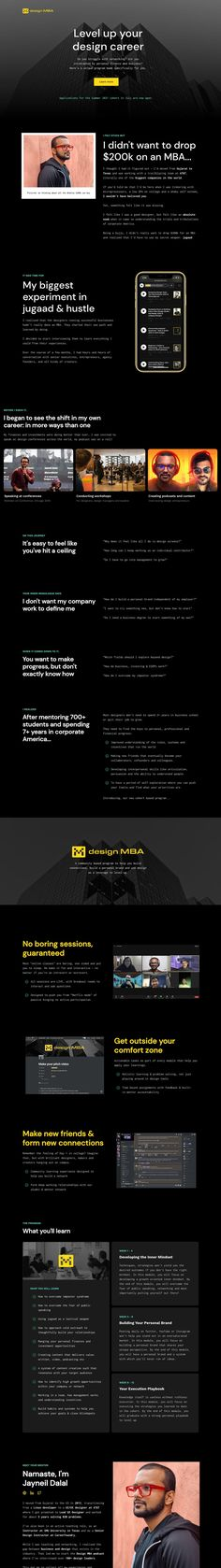 Slick dark-schemed Landing Page (built using Webflow) announcing the first design MBA cohort with Jayneil Dalal.