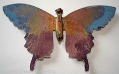 Vintage butterfly brooch( Back painted perspex )
