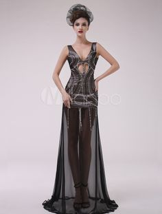 Black Beading V-Neck A-line Chiffon Charming Evening Dress. Get splendid discounts up to 70% Off at Milanoo using Coupon & Promo Codes