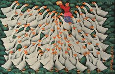 Girl Playing With Ducks  A girl playing with hundreds of enthusiastic ducks. Hand painted Artist's signature on the lower right hand corner Original Approximate size unframed 31 inches high x 22 inches wide FREE SHIPPING