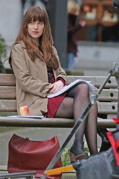 Dakota Johnson films Fifty Shades Darker on March, 14