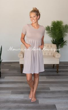 The Poplin -Neutral – Mountain Aire Boutique Neutral Colors, Boutique Clothing, Day Dresses, Poplin, Pleated Skirt, Short Sleeves, Mountain, Shirt Dress, Chic