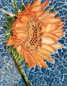 Sunflower Mosaic Tempered glass, stained glass Available Mosaic Tile Art, Pebble Mosaic, Mosaic Diy, Mosaic Garden, Mosaic Crafts, Mosaic Projects, Stained Glass Projects, Stained Glass Patterns, Mosaic Patterns