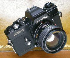 Minolta XE-7, beautiful electro-mechanical camera, with vertical traversing Copal steel shutter. The XE-7, was the best camera, ever built by Minolta.