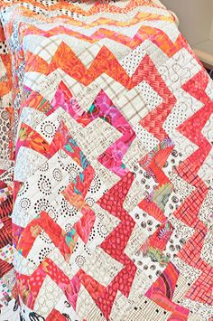 Fractured Quilt ~ Kaffe Fassett brights with low volume background