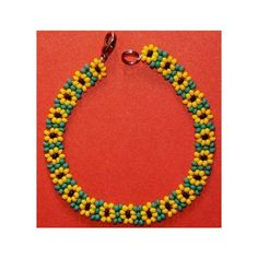 Etsy :: jingjingdesign :: Sunflower Daisy Chain Seed Beads Beaded Bracelet Just Beautiful