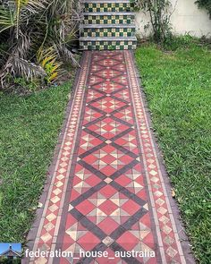 Tiled garden path and step risers in Burwood. Detail on a Hurstville Federation home. House Paint Exterior, Exterior House Colors, Garden Paths, Garden Art, Garden Landscaping, Porch Tile, Red And White Kitchen, Summer Hill, Home Porch