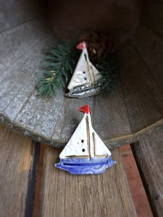Ceramic Sailboat Button  Stoneware Sailboat buttons  by knjStudio