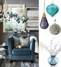 Top 5 Friday: Modern Trends in Christmas Decorating by Kim Vallee Canada Christmas, Christmas Trends, Blue Christmas, Holiday Ideas, Modern Holiday Decor, Modern Decor, Blue Velvet Chairs, Christmas Table Decorations, Very Merry Christmas