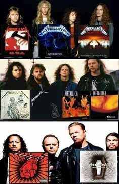Metallica - the year(s) their albums have been released. Great Bands, Love Band, Cool Bands, Hard Rock, Heavy Metal Rock, Heavy Metal Music, Recital, Metal Evolution, Learn Guitar Chords