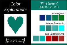 Eva Maria Keiser Designs: Explore Color: Pine Green. Go to previous and next blog pages for more exploration of color.