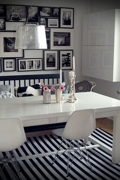 black & white | dining area