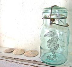 Beach Cottage Chic, Glass Vase, Seahorse, Blue Mason Jar, Shabby Chic Home