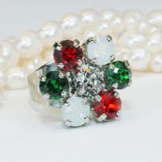 Christmas Ring Red Green Ring adjustable Crystal Ring Flower Red Green White Holidays Ring Flower Swarovski Crystal Ring Silver finish BR1 #Etsy #Share #AyuJewelryShare #EtsyShop #MSMTeam