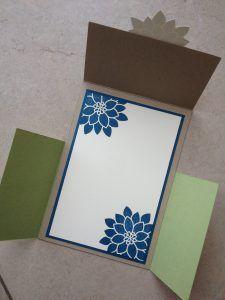 Kreative-Engelmama, Stampin´Up!, Dutch Fold Card, Stempelset Blühende Worte, Savanne, Farngrün, Jeansblau