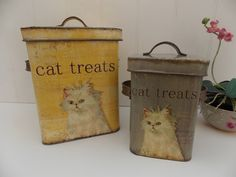 Shabby Chic Set Metal Cat Food Kitchen Storage Tins Cattery Treat Containers | eBay