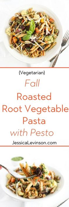 Roasted root vegetable pasta with pesto is a hearty and nutritious one-bowl meal. A perfect way to celebrate the flavors of the fall season. Get the vegetarian recipe at Small Bites by Jessica. #pasta #roastedvegetables #rootvegetables #fallrecipes #healthypasta