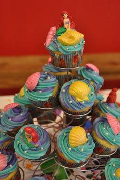 Little mermaid cupcakes. Love the swirl frosting.