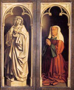 Jan van Eyck y Hubert van Eyck. Políptico del cordero místico o Políptico de Gante, 1432. Actualmente en la catedral de San Bavón de esa ciudad. Vista del políptico cerrado. Detalle con San Juan Evangelista realizado en grisalla imitando una escultura y empleando el trampantojo y la figura polícroma de la mujer del donante, que aparece a tamaño natural y arrodillada.