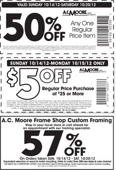 50 off a single item and more at ac moore crafts coupon via the coupons - Michaels Framing Coupon