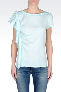 Armani Jeans Women Blouse - CREW NECK BLOUSE WITH RUFFLE Armani Jeans Official Online Store