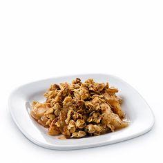 Apple Crisp with Truvía® Brown Sugar Blend Recipe Desserts with oatmeal, apples, lemon juice, all-purpose flour, butter, salt, ground cinnamon, Truvía® Brown Sugar Blend, nonstick spray