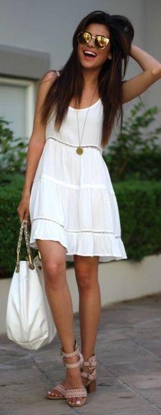 #summer #cool #outfitideas    Hot Little White Dress