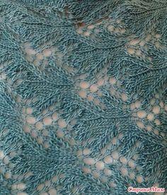 Вот такой интересный узорчик спицами мне попался.  Схема ажурного узора для вязания спицами. Таким ажурным узором напоминающим листья можно связать пуловер или джемпер.: