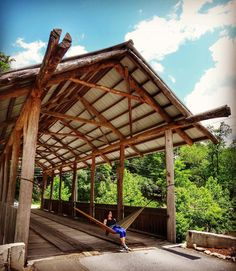 Hanging out under the covered bridge. #adventuroussoul #adventure #hammockcamping #camping #hiking #deytimedesigns #hammock #hammocklife #hammockcamping #chimneyrock #northcarolina by @deytimedesigns