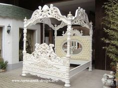 barock-bett-180-cm-antik-louis-xv-weiss-barockbett-massiv-landhaus ... - Schlafzimmer Barock