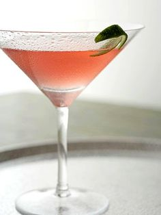 Cosmopolitan. Both cranberry and lime juice flavor this popular cocktail traditionally served in a martini glass.