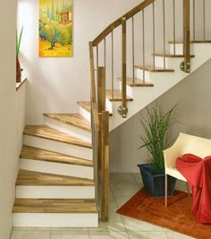 Wonderful staircase remodel - see our commentary for more tips and hints! Home Stairs Design, Modern House Design, Small Space Staircase, Staircase Remodel, Interior And Exterior, Interior Design, House Stairs, Stairways, House Plans