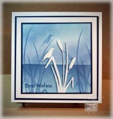 cardmaking video tutorial: Embossed Cattails Card .... sponging ... layering ... heat embossing ... lots of layers ... lovely!