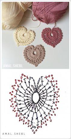 花片 Tiny Crochet Heart with Chart /;)