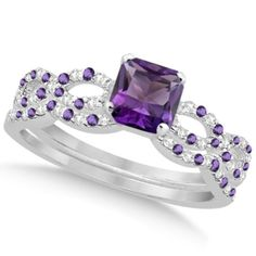 Amethyst & Diamond Princess Infinity Bridal Set 14k White Gold 1.74ct