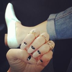 half moon nude nails today and midi rings coming soon