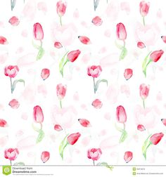 Seamless Pattern Of Watercolor Pink Tulips. - Download From Over 36 Million High Quality Stock Photos, Images, Vectors. Sign up for FREE today. Image: 50314616