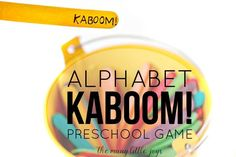 """This """"Kaboom!"""" preschool alphabet game is so simple, costs almost nothing to make, and it can be adapted to learn practically anything."""