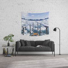 Wading Through Icebergs Tapestry // Caitlin Tyner Photography #boat #alaska #ice #water #ocean #glacier #adventure #blue #sky #mountains #wall #art #decor #decorate #home #apartment #society6