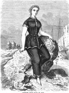 1863.  La Mode Illustree.  Swimming costume with the skirt.  How Parisian!