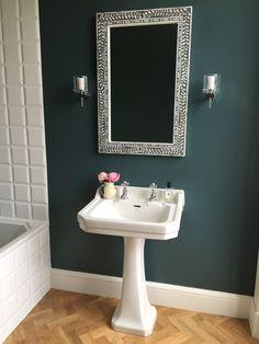 Bathroom - oak floor - white accents - blue wall Farrow & Ball Inchyra Blue on walls. Blue Bathroom Decor, Downstairs Bathroom, Bathroom Colors, Bathroom Ideas, Oak Bathroom, Light Bathroom, Industrial Bathroom, Bathroom Shelves, Karndean Flooring