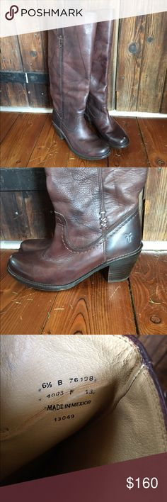 Frye tall boots Really amazing boots, I just want to try a different style. These have been worn a few times and have light signs of wear. Really beautiful reddish brown with natural color differentiation throughout. Super comfortable! Frye Shoes Heeled Boots